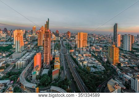 Beautiful City In The Evening Time In Asia.
