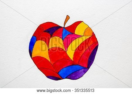 Red Apple, Abstract Colorful Apple Ornament, Bright Artistic Fruits Backdrop, Art Fruity Translucent