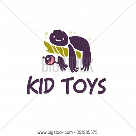Logo Design For Kid Toys Store, Market, Boutique With Funny Sloth Character Silhouette With Rattle I