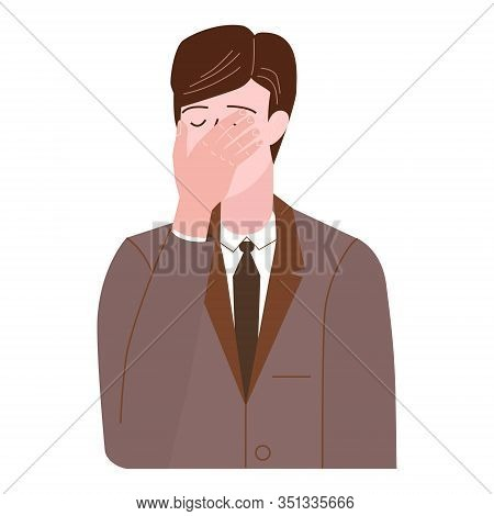 Businessman With Facepalm Gesture. Headache, Disappointment Or Shame Sad Stressed Face, Worry Disapp