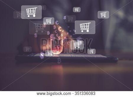 Businessman Using Smartphone . Concept Online Shopping ,social Media