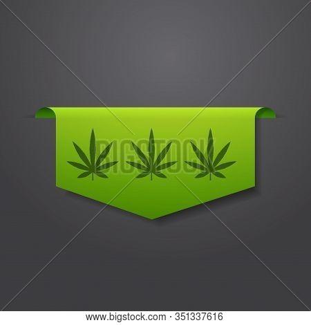 Marijuana Leaf Sticker Cbd Oil Label Thc Free Icon Hemp Extract Emblem Ganja Cannabis Weed Badge Log