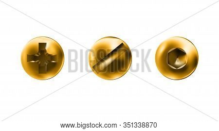 Set Golden Self-tapping Screws, Heads, Gold Caps. Twisted In Surface Imbus, Slotted Screw Isolated O