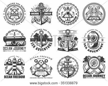 Sea Travel Ship And Nautical Anchor Vector Icons With Sail Boat Ropes, Chains And Marine Compasses,