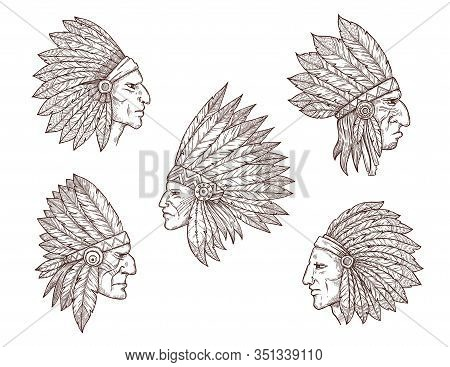 Native American Chief Sketches. Vector Heads Of Indian Man, Apache Tribe Warrior And Cherokee Archer