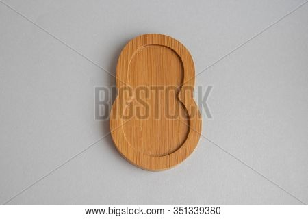 Wooden Numeric With Shadow Isolated On White Background, Number Eight, 8