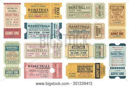 Basketball Sport Game Competition Ticket Or Admit One Card Vector Templates With Basketball Balls. C