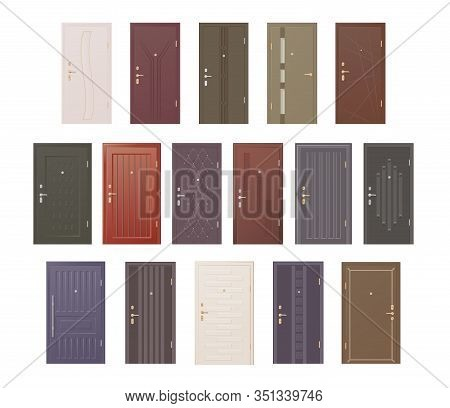 Entry Door Icons Of House Front Entrance Vector Design. Hinged Doors With Metal Doorways And Frames,