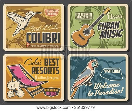 Cuba Travel Vector Posters Of Cuban Beach Resorts And Tourism Design. Map Of Tropical Island, Caribb