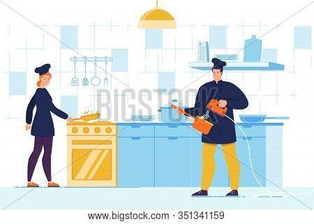 Man And Woman Chef Character With Tool Utensils On Kitchen Cooking Gourmet Meal, Frying And Mixing I