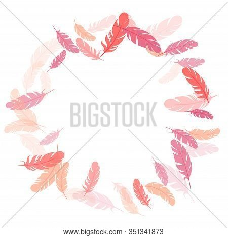 Trendy Pink Flamingo Feathers Vector Background. Angel Wing Plumage Concept. Fluffy Twirled Feathers