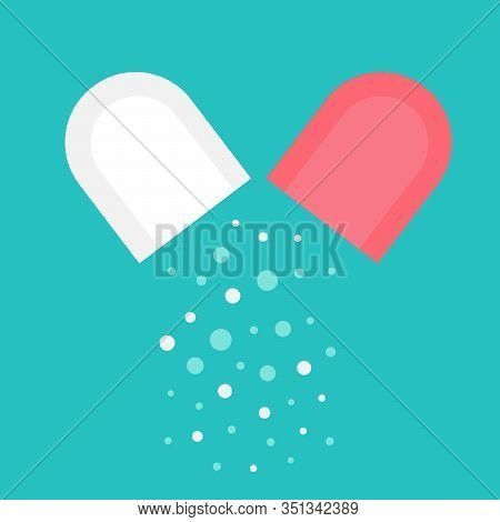 An Open Pill.internal Contents Of The Capsule.medical Preparation, Granules, Loose.medical Concept.f
