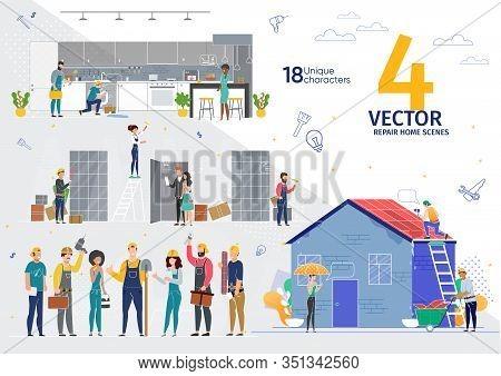Home Repair, Apartment Renovation Professional Service Works Trendy Flat Vector Scenes Set. Female,