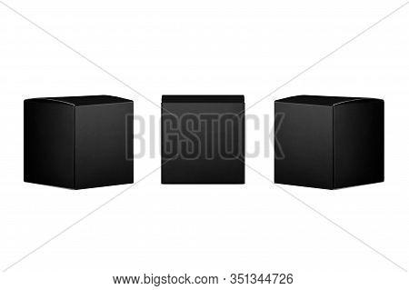 Elegant Collection Of Square Black Paper Boxes  - Side, Front View On Dark Black Background, Mock Up
