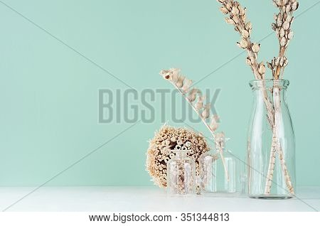 Simple Organic Beige Wooden Home Decor With Dried Plants, Twigs, Bunch In Glass Bottle In Green Mint