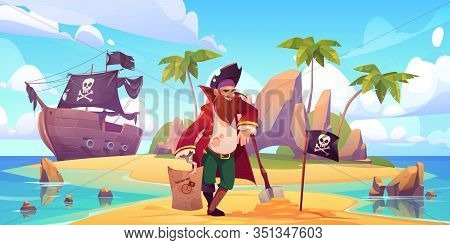 Pirate Buried Treasure Chest On Island Beach. Vector Cartoon Character With Hook, Wooden Leg And Bea