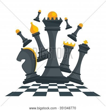 Concept With Black Figures For Chess. King, Queen And Rook, Bishops, Knights And Pawn. Board Logic G
