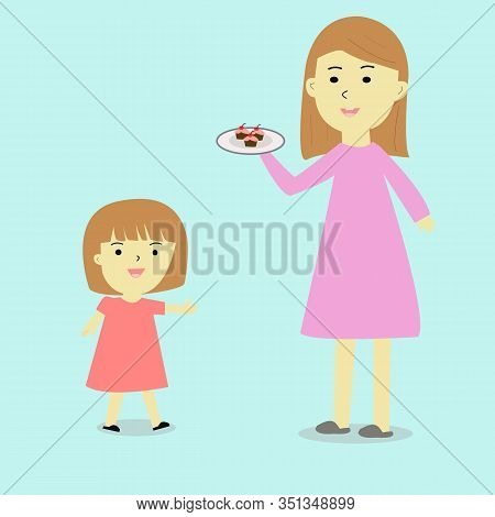 A Mother Bring Cupcake  And Want To Give Her Daugther