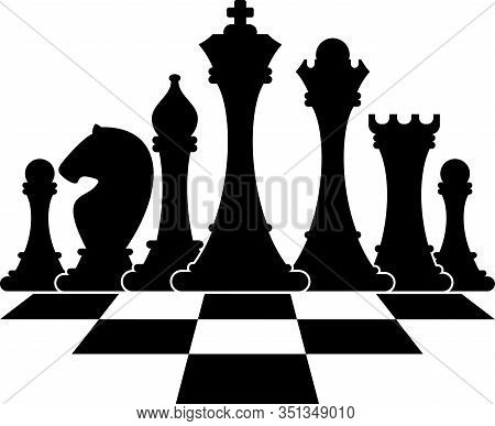 Set Of Figures For Chess. King, Queen And Rook, Bishops, Knights And Pawn. Strategy Logic Board Game