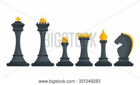Set Of Black Figures For Chess. King, Queen And Rook, Bishops, Knights And Pawn. Strategy Logic Boar