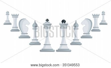 Row Of White Chess Pieces Ascending. King, Queen And Rook, Bishops, Knights And Pawn. Board Logic Ga