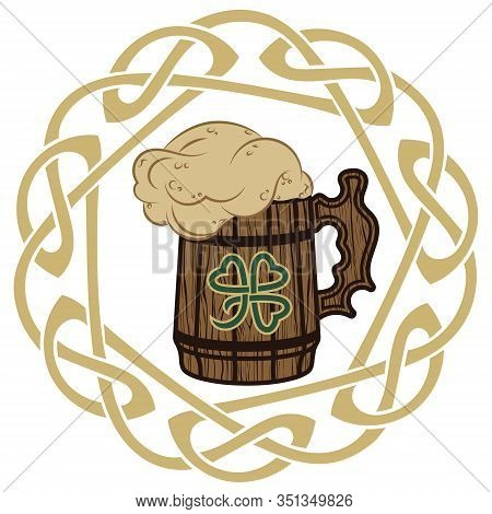 Irish Celtic Design, Celtic-style Clover, Mug Of Beer, Illustration On The Theme Of St. Patricks Day