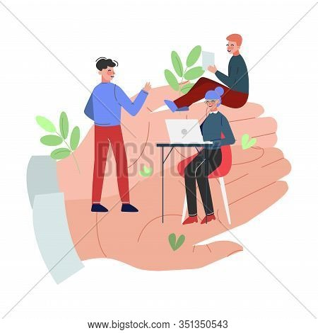 Office Employees Working On Giant Hands, Office Staff Care, Support, Professional Growth, Personnel