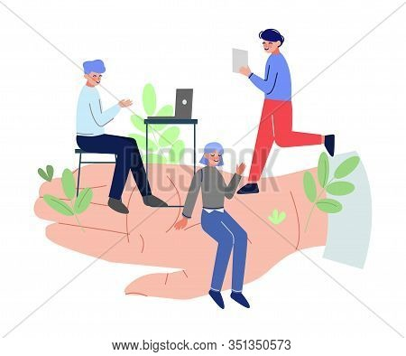 Giant Hands Holding Tiny Office Workers, Business Emloyees Protection, Professional Growth, Personne