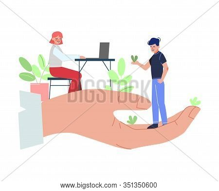Giant Hands Holding Tiny Business People, Professional Growth, Personnel Perks And Benefits Vector I