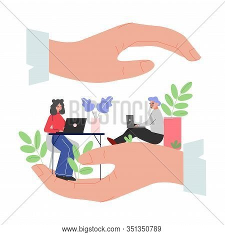 Giant Hands Protecting Office Employees, Office Staff Care, Support, Professional Growth, Personnel