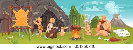 Prehistoric People At Stone Age Concept. Ancient Primeval Young And Adult Cave People, Doing Daily R