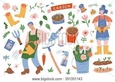 Gardening Scene Creator. Vector Illustrations Of People In Garden With Tools, Plants, Equipment And