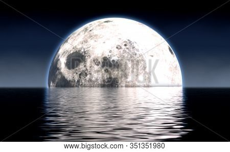 A Look Out Across Calm Water With A Full Moon Rising On The Horizon At Night - 3d Render