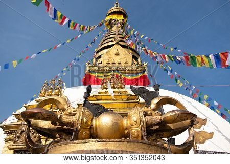Nepal Kathmandu Swayambhunath Temple Or Monkey Temple Is An Ancient Religious Architecture  On Hill