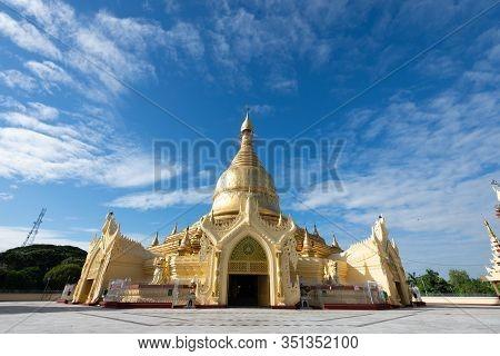 The Maha Wizaya Pagoda Located On Shwedagon Pagoda Road In Dagon Township, Yangon, Myanmar. The Pago