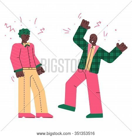 Male Characters Fighting And Quarrelling Sketch Vector Illustration Isolated.