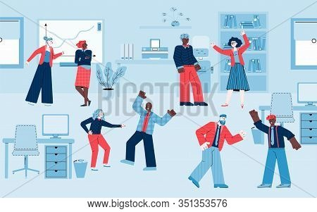 Business People Quarrelling And Arguing In Office, Sketch Vector Illustration.