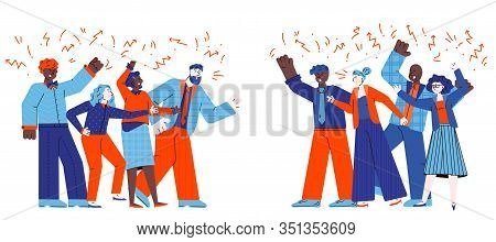 Groups Of Conflicting People Quarrelling Sketch Vector Illustration Isolated.