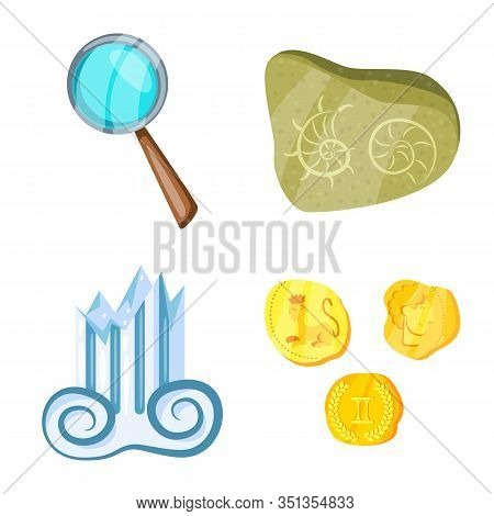 Vector Design Of Archaeology And Historical Symbol. Set Of Archaeology And Excavation Stock Symbol F