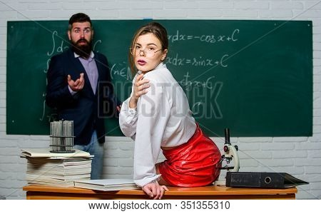 Attractive Teacher In Leather Skirt. Cheeky Teacher. Impudent Student. Flirting With Colleague. Scie
