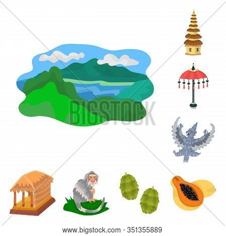 Isolated Object Of Bali And Indonesia Logo. Collection Of Bali And Caribbean Stock Vector Illustrati