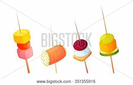 Different Types Of Gourmet Snacks On Skewers Vector Illustration