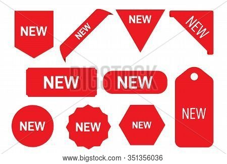 New Tag Ribbon And Banner Vector. New Ribbons. Corner Banner, New Tag Labels And Present Buttons
