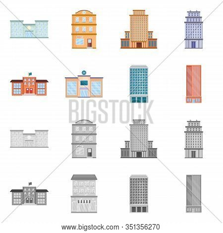 Isolated Object Of Municipal And Center Icon. Collection Of Municipal And Estate Vector Icon For Sto