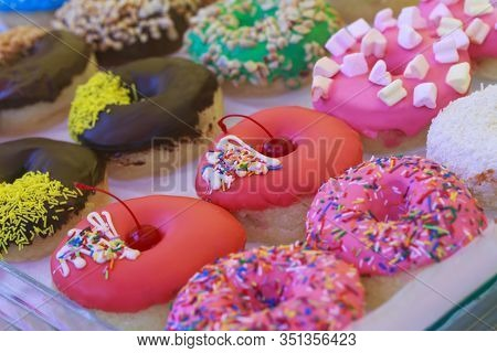 Beautiful Sweet Donuts In A Shop Window
