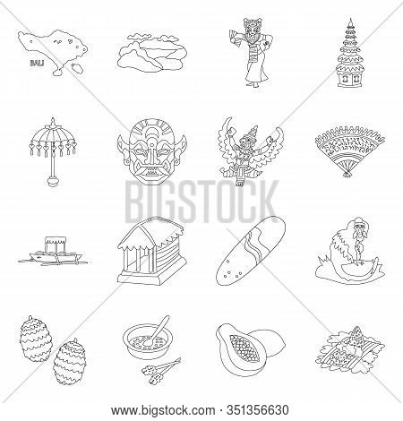 Isolated Object Of Balinese And Caribbean Sign. Set Of Balinese And Geography Stock Vector Illustrat