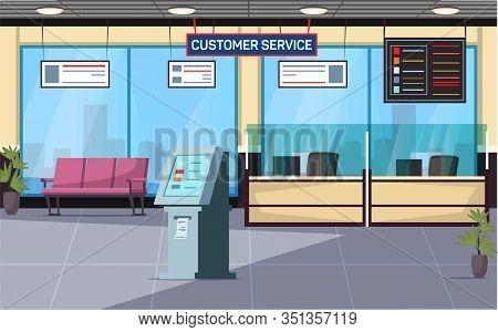 Customer Service Office Flat Vector Illustration. Bank Lobby Lounge Zone, Hall, Waiting Room Interio