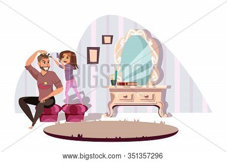 Fatherhood, Parenting Flat Vector Illustration. Happy Young Babysitter And Little Girl Cartoon Chara