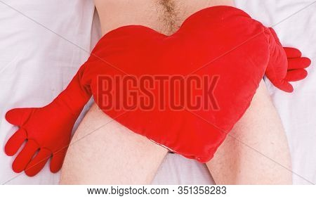 Love And Sex Concept. Valentines Day Surprise. Sexual Health And Libido. Ready To Make Love. Heart R