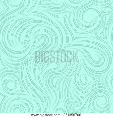 Smooth Vector Turquoise Texture From Smooth Cut Lines. Twisted Pattern For Decoration Of Fabrics Or